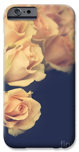 Grungy Pyrography iPhone Cases - Roses iPhone Case by Jelena Jovanovic
