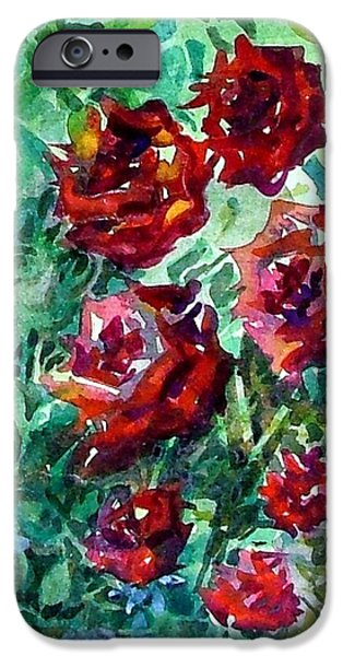 Botanical Drawings iPhone Cases - Roses iPhone Case by Mindy Newman