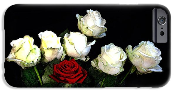 Rose iPhone Cases - Roses On Black iPhone Case by Mark Rogan