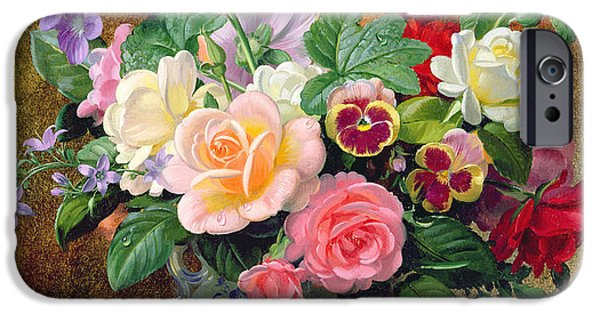Flora iPhone Cases - Roses pansies and other flowers in a vase iPhone Case by Albert Williams