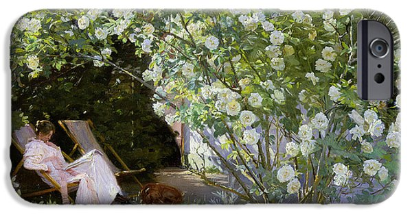 Rest Paintings iPhone Cases - Roses iPhone Case by Peder Severin Kroyer