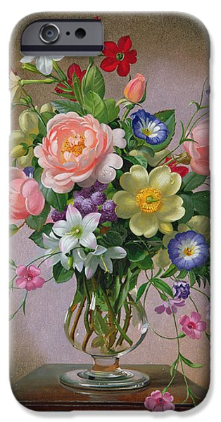 Floral Photographs iPhone Cases - Roses, Peonies And Freesias In A Glass Vase Oil On Canvas iPhone Case by Albert Williams