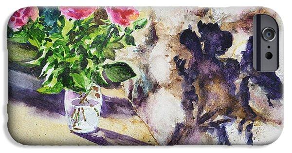 Impressionistic Landscape Paintings iPhone Cases - Roses Shadows Impressionism iPhone Case by Irina Sztukowski