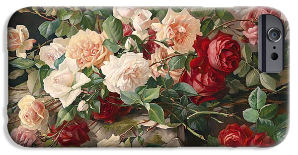 Concept Paintings iPhone Cases - Roses Still Life iPhone Case by Rosen