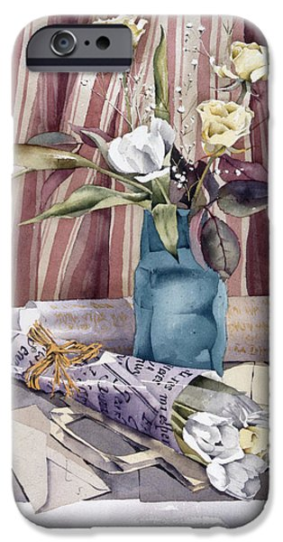Indoor Still Life iPhone Cases - Roses Tulips And Striped Curtains iPhone Case by Julia Rowntree
