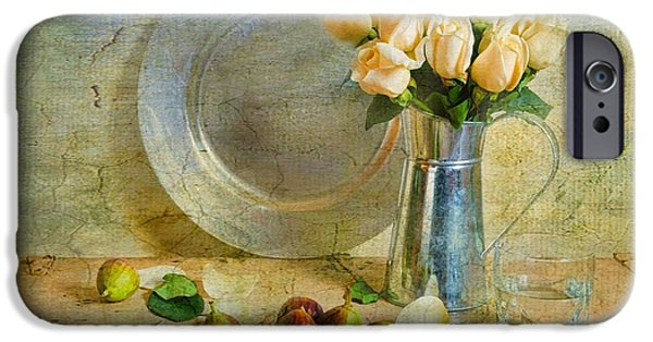 Still Life With Pitcher iPhone Cases - Roses with Figs iPhone Case by Diana Angstadt