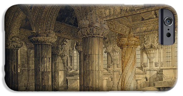 Detailed Drawings iPhone Cases - Roslyn Chapel iPhone Case by Joseph Michael Gandy