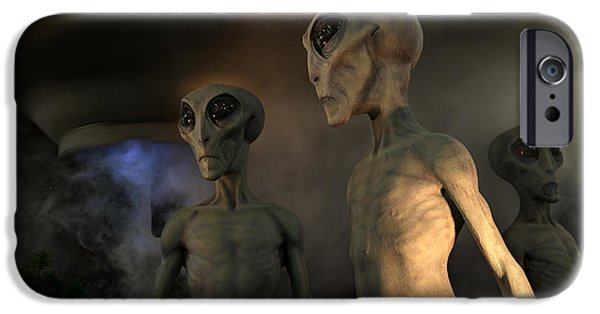 Space-craft iPhone Cases - Roswell New Mexico Visiting Hour  iPhone Case by Bob Christopher
