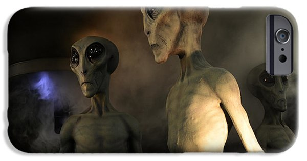 Space-craft iPhone Cases - Roswell Visiting Hour iPhone Case by Bob Christopher