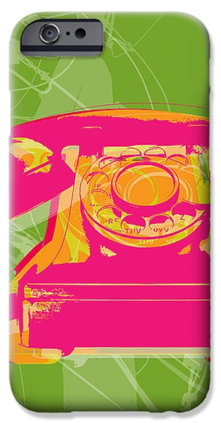 Pop Digital Art iPhone Cases - Rotary phone iPhone Case by Jean luc Comperat