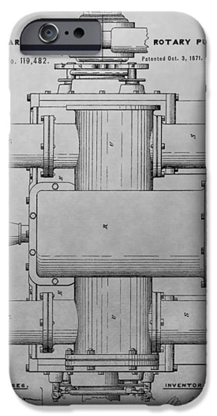 Compressor iPhone Cases - Rotary Pump Patent Drawing iPhone Case by Dan Sproul