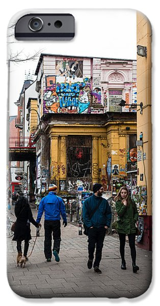 Financial Interest iPhone Cases - Rote Flora at Schanzenviertel in Hamburg - Germany iPhone Case by Frank Gaertner