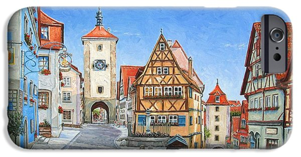 Town Paintings iPhone Cases - Rothenburg Germany iPhone Case by Mike Rabe