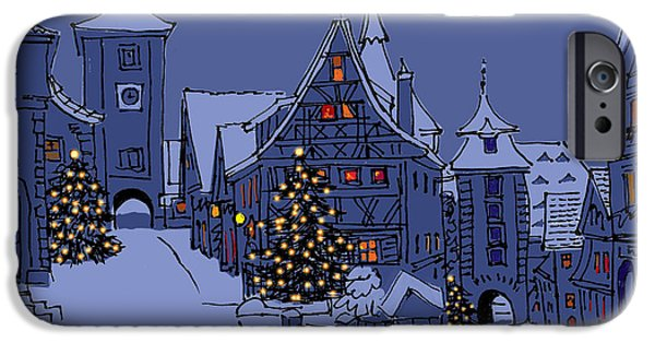 Winter Scene iPhone Cases - Rothenburg Ob Der Tauber iPhone Case by Mary Helmreich