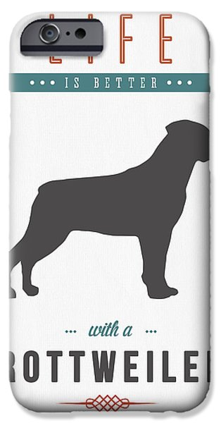Rottweiler iPhone Cases - Rottweiler 01 iPhone Case by Aged Pixel