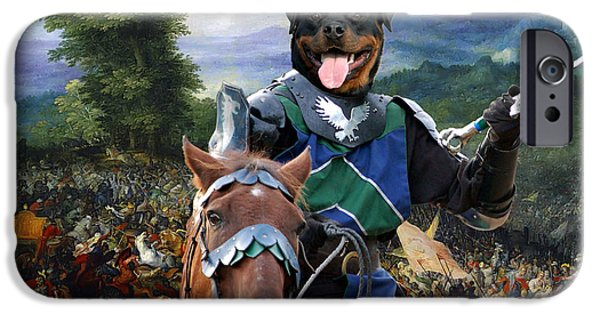 Rottweiler iPhone Cases - Rottweiler Art - The Brave Knight iPhone Case by Sandra Sij