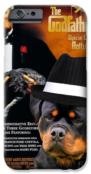 The Godfather Paintings iPhone Cases - Rottweiler Art Canvas Print - The Godfather Movie Poster iPhone Case by Sandra Sij