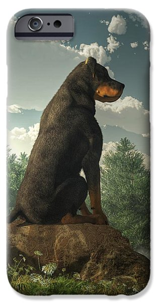 Rottweiler iPhone Cases - Rottweiler  iPhone Case by Daniel Eskridge