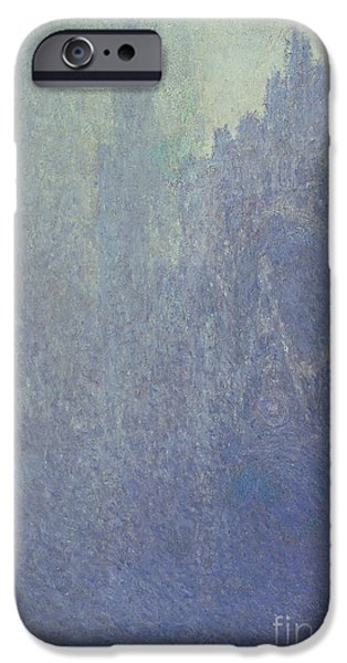 Fog Mist iPhone Cases - Rouen Cathedral Foggy Weather iPhone Case by Claude Monet