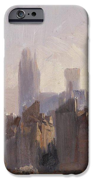 Romanticism iPhone Cases - Rouen Cathedral Sunrise iPhone Case by Richard Parkes Bonnington