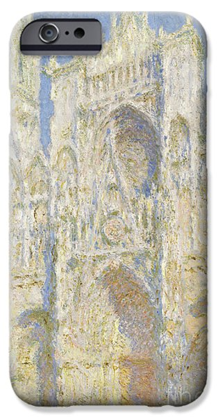 Porch iPhone Cases - Rouen Cathedral West Facade iPhone Case by Claude Monet