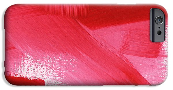Contemporary Abstract iPhone Cases - Rouge 2- horizontal abstract painting iPhone Case by Linda Woods