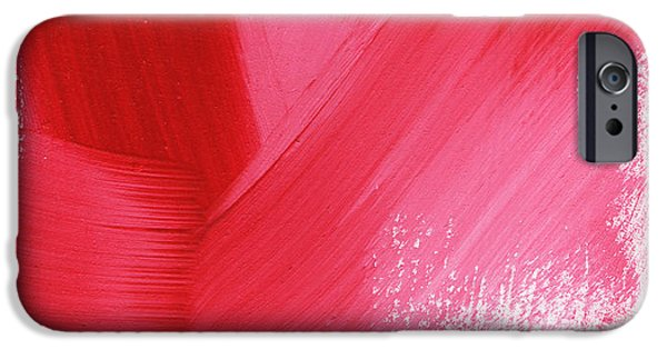 Red Abstract Mixed Media iPhone Cases - Rouge- vertical abstract painting iPhone Case by Linda Woods