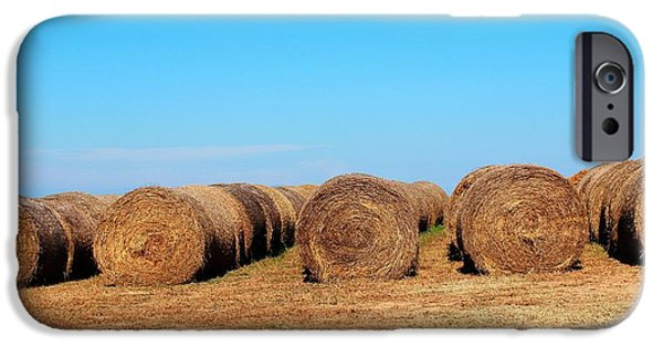 Haybale Digital Art iPhone Cases - Round Bales Of Hay iPhone Case by Cynthia Guinn