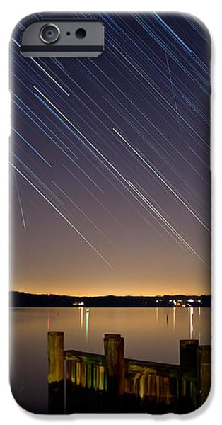 Round Bay Startrails and a Meteor Shower iPhone Case by Benjamin Reed