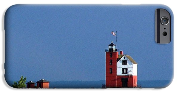 Lighthouse iPhone Cases - Round Island Light  iPhone Case by Kathleen Viola