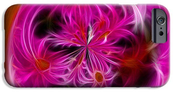 Fractal Orbs iPhone Cases - Round Pink and Pretty by Kaye Menner iPhone Case by Kaye Menner
