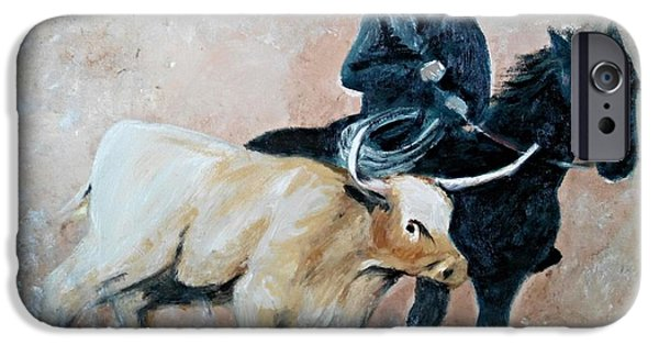 Wild Racers Paintings iPhone Cases - Roundup iPhone Case by Lady I F Abbie Shores