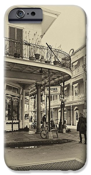 Balcony Digital iPhone Cases - Rouses Market sepia iPhone Case by Steve Harrington