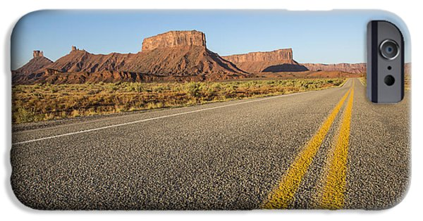 Red Rock iPhone Cases - Route 128 near Castle Valley iPhone Case by Adam Romanowicz