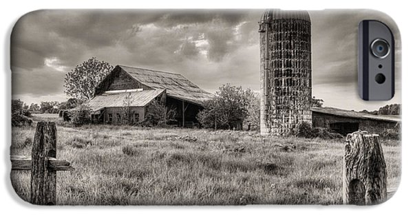 Maryland Barn Photographs iPhone Cases - Route 213 Black and White iPhone Case by JC Findley