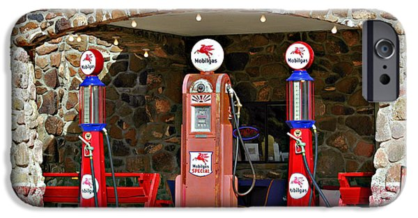 Oil Pump iPhone Cases - Route 66 - Cool Springs Camp AZ iPhone Case by Christine Till