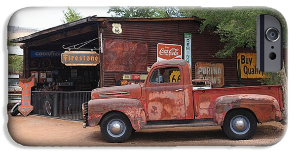 Shed iPhone Cases - Route 66 Garage and Pickup iPhone Case by Frank Romeo