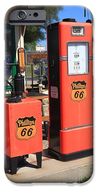 Old Bus Stations iPhone Cases - Route 66 Gas Pumps iPhone Case by Frank Romeo