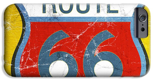 Sign iPhone Cases - Route 66 iPhone Case by Linda Woods