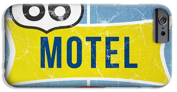Sign iPhone Cases - Route 66 Motel iPhone Case by Linda Woods
