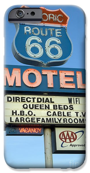 Pinstripes iPhone Cases - Route 66 Motel Sign 3 iPhone Case by Bob Christopher