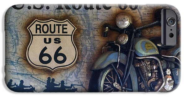 The Mother iPhone Cases - Route 66 Odell IL Gas Station Motorcycle Signage iPhone Case by Thomas Woolworth