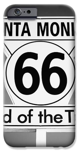 Route 66 Sign in Santa Monica in Black and White iPhone Case by Paul Velgos