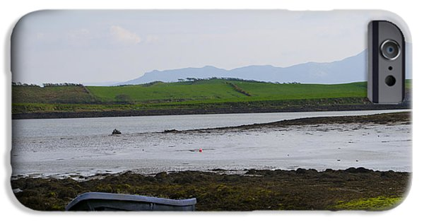 Row Boat Digital iPhone Cases - Row Boat at Low Tide - County Mayo Ireland iPhone Case by Bill Cannon