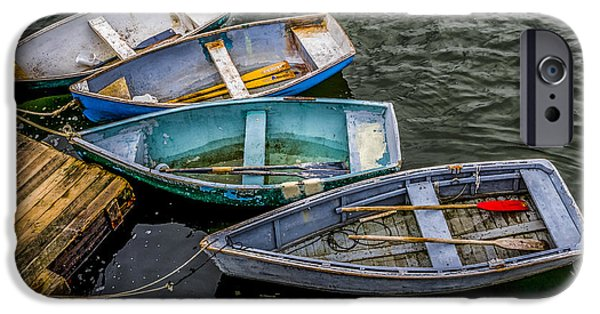 Peacefull iPhone Cases - Row Boats At Dock iPhone Case by David Kay