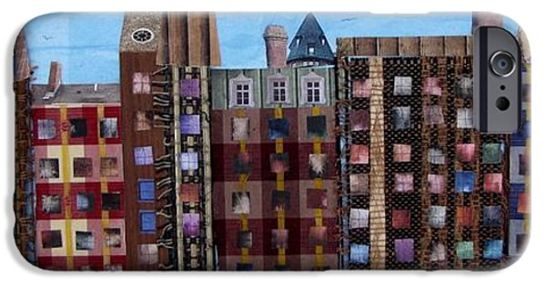 Buildings Mixed Media iPhone Cases - Row Houses iPhone Case by Barbara Kinnick