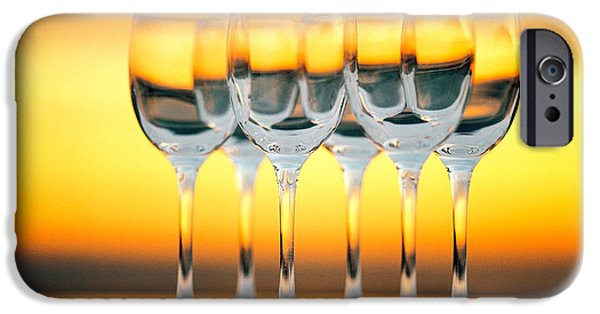 Cut-outs iPhone Cases - Row Of Wineglasses Against Golden iPhone Case by Panoramic Images
