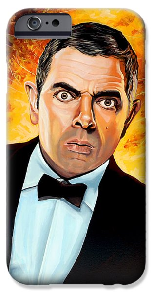 Celebrities Art iPhone Cases - Rowan Atkinson alias Johnny English iPhone Case by Paul Meijering