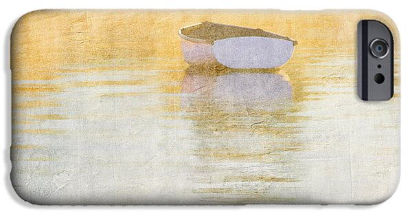 Row Boat Digital iPhone Cases - Rowboat in the Summer Sun iPhone Case by Carol Leigh