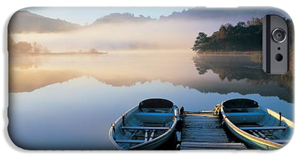 Absence iPhone Cases - Rowboats At The Lakeside, English Lake iPhone Case by Panoramic Images